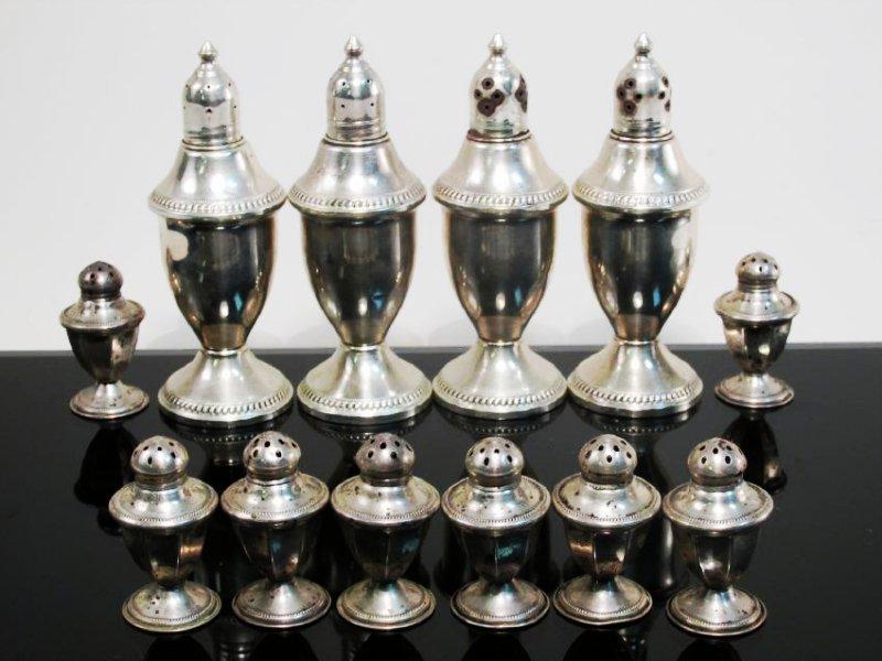 STERLING SILVER & GLASS TABLEWARES: CREAMER ETC. - 6