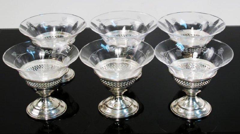 STERLING SILVER & GLASS TABLEWARES: CREAMER ETC. - 7