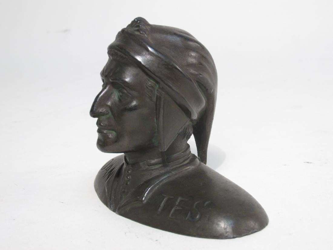 ANTIQUE MINIATURE BRONZE BUST OF DANTE ALIGHIERI