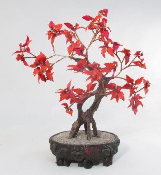 """CHINESE 19"""" RED GLASS """"JADE TREE"""""""