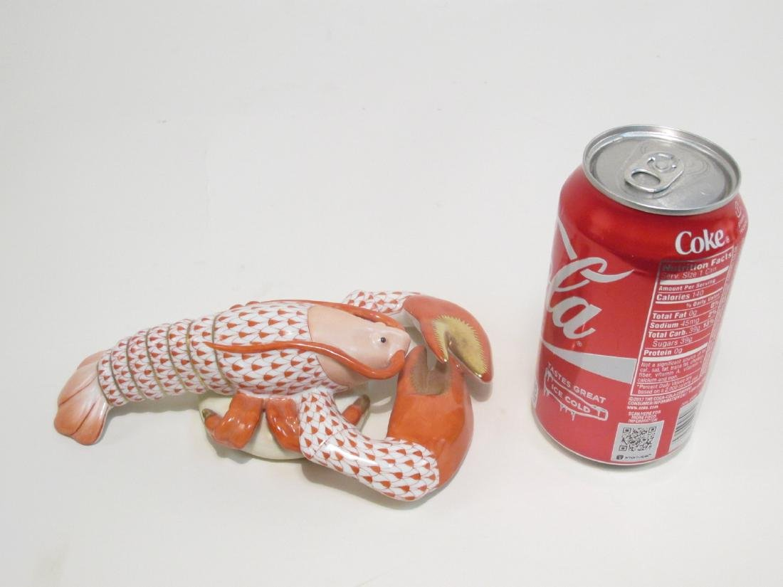 HEREND RUST/ORANGE FISHNET PORCELAIN LOBSTER - 3