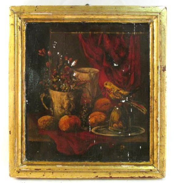 ANTIQUE TROMPE L'OEIL STYLE OIL ON PANEL PAINTING