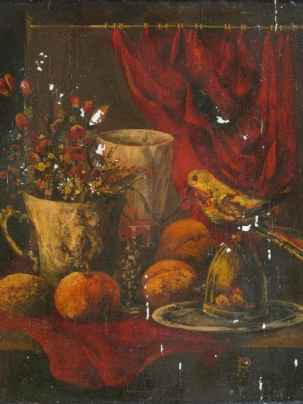 ANTIQUE TROMPE L'OEIL STYLE OIL ON PANEL PAINTING - 2