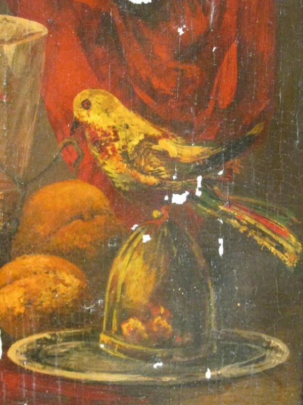 ANTIQUE TROMPE L'OEIL STYLE OIL ON PANEL PAINTING - 3