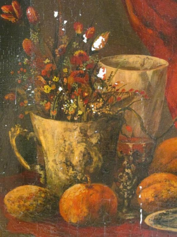 ANTIQUE TROMPE L'OEIL STYLE OIL ON PANEL PAINTING - 4