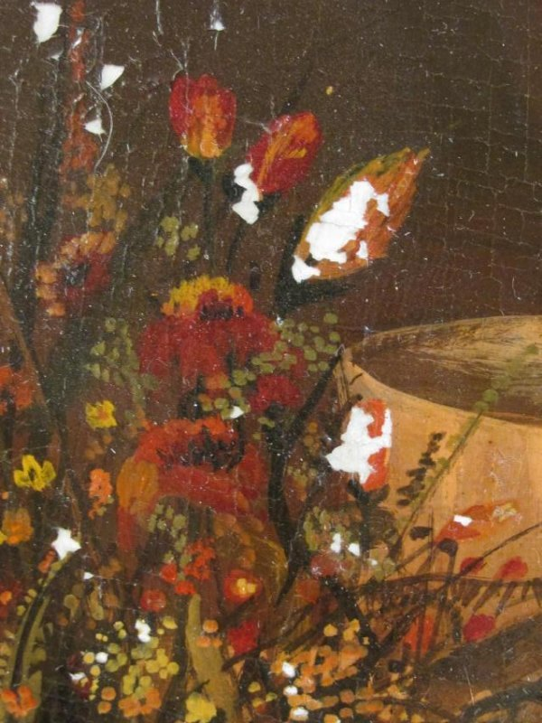 ANTIQUE TROMPE L'OEIL STYLE OIL ON PANEL PAINTING - 5