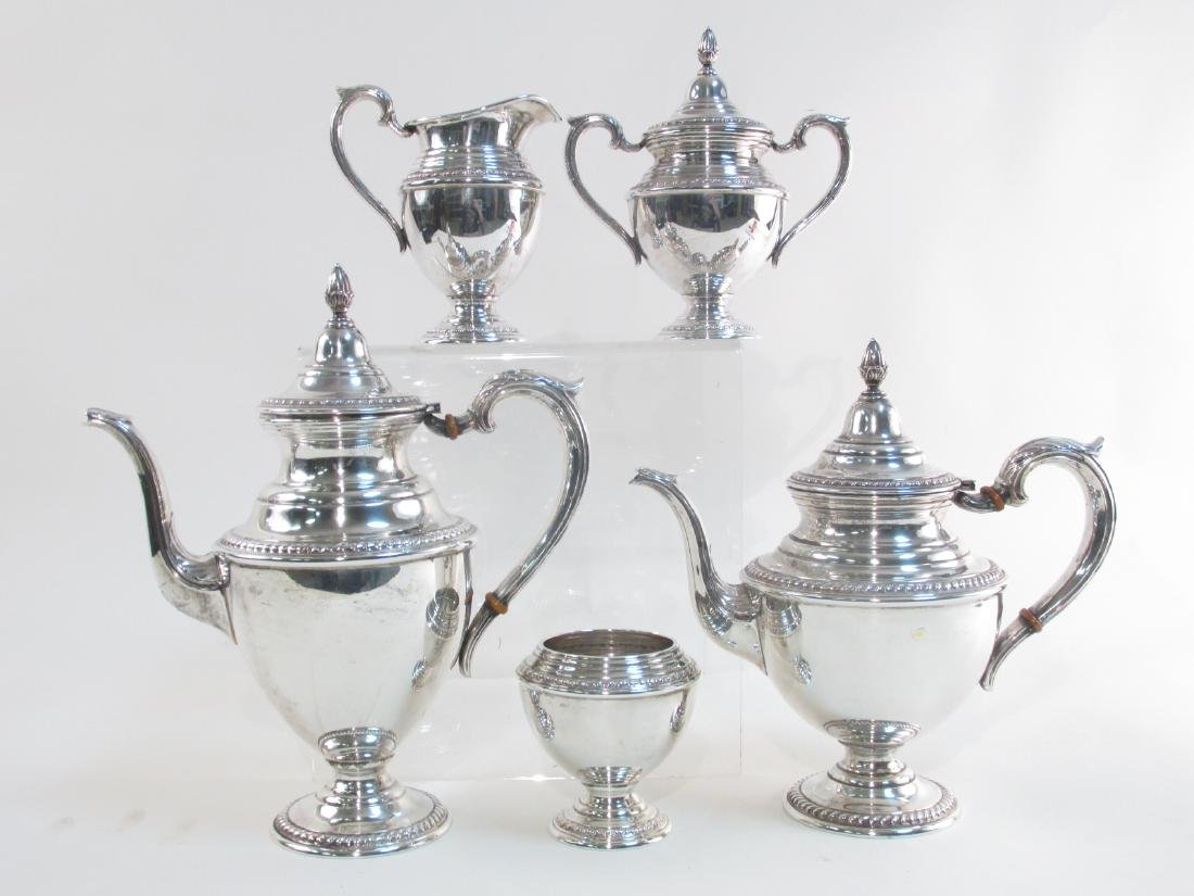 FIVE PIECE ROGERS STERLING SILVER TEA SET 57.8 TRO
