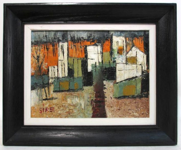 VINTAGE ACRYLIC ON MASONITE PAINTING SIGNED SIBER