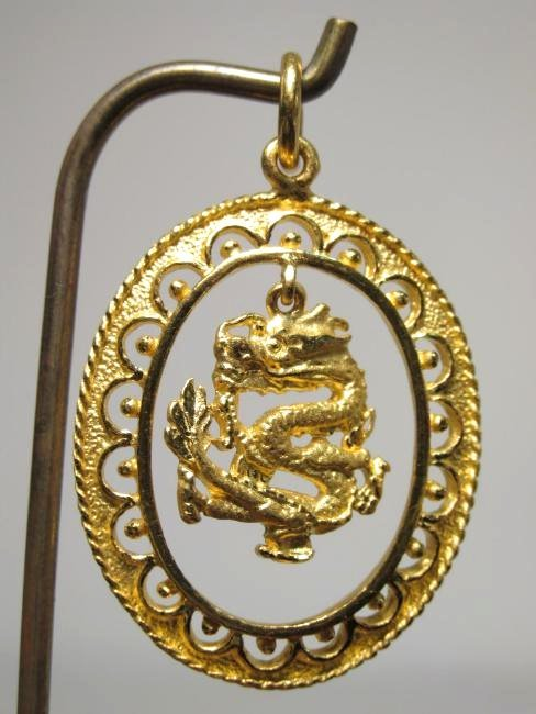 CHINESE .9999 24K GOLD DRAGON PENDANT 10.5 GRAMS - 2