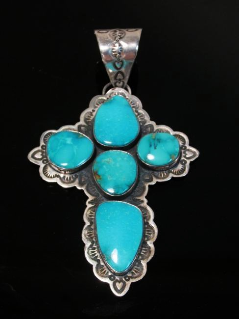 NATIVE AMERICAN STERLING & TURQUOISE CROSS PENDANT