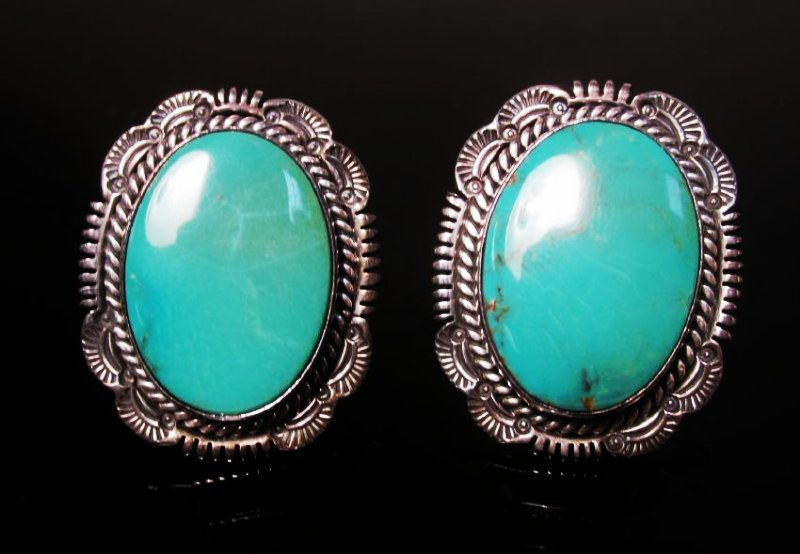 NATIVE AMERICAN TURQUOISE & STERLING EARRINGS