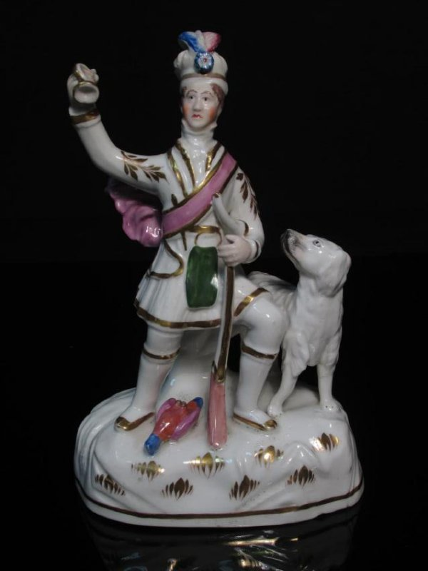 19TH C DUDSON STAFFORDSHIRE HUNTER W/ DOG
