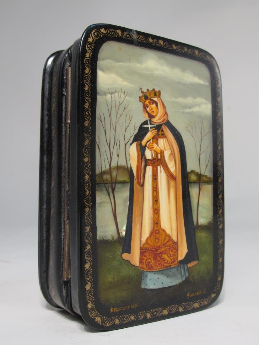ARTIST SIGNED RUSSIAN LACQUER BOX: SAINT OLGA