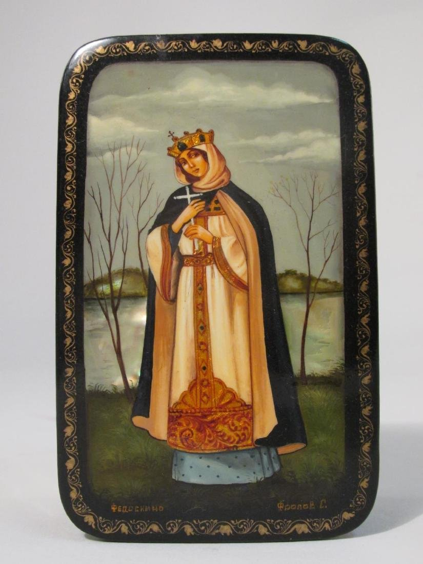ARTIST SIGNED RUSSIAN LACQUER BOX: SAINT OLGA - 2