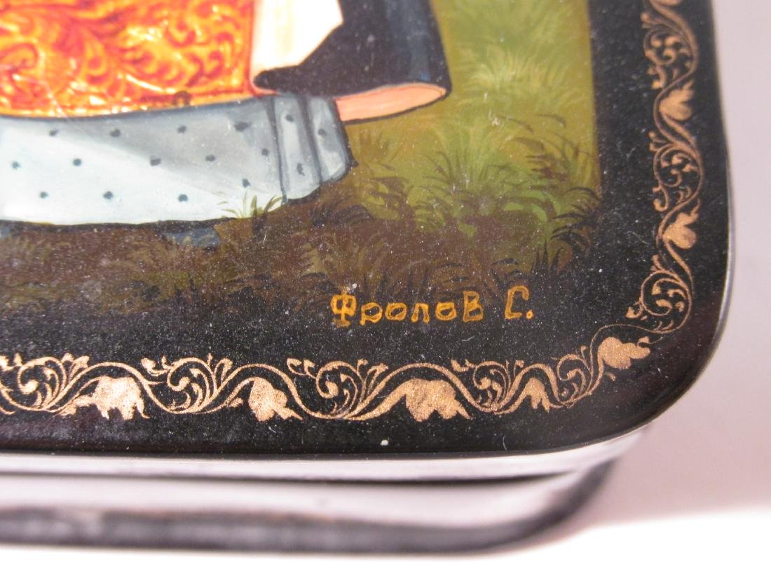 ARTIST SIGNED RUSSIAN LACQUER BOX: SAINT OLGA - 4
