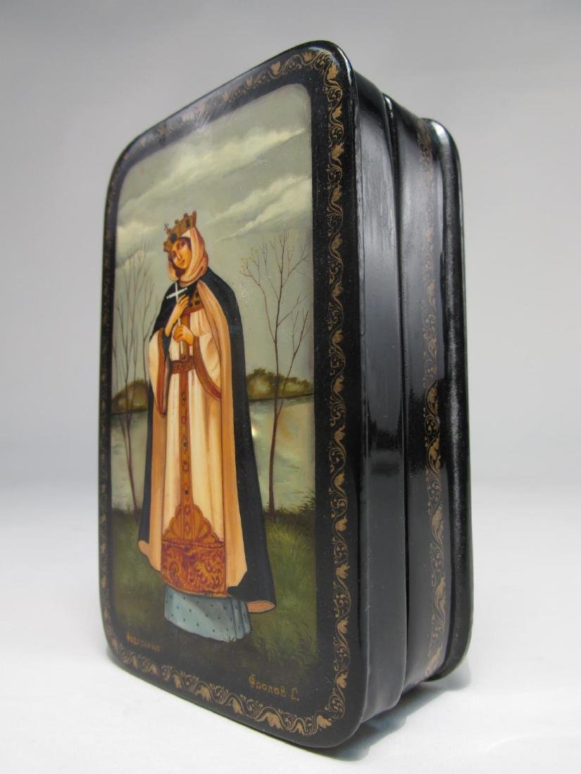 ARTIST SIGNED RUSSIAN LACQUER BOX: SAINT OLGA - 6