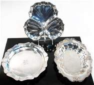 THREE AMERICAN STERLING SILVER DISHES/TRAYS 42.5 t