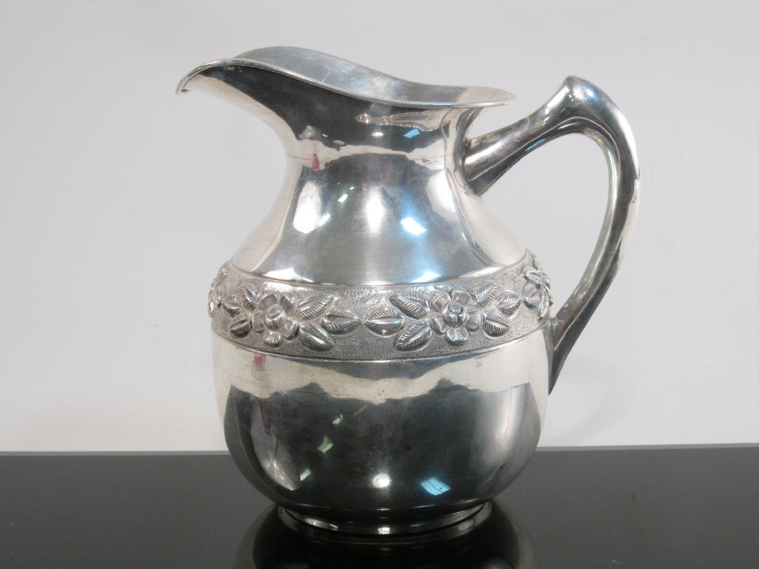 MEXICAN EMBOSSED STERLING SILVER PITCHER 26.5 TROY