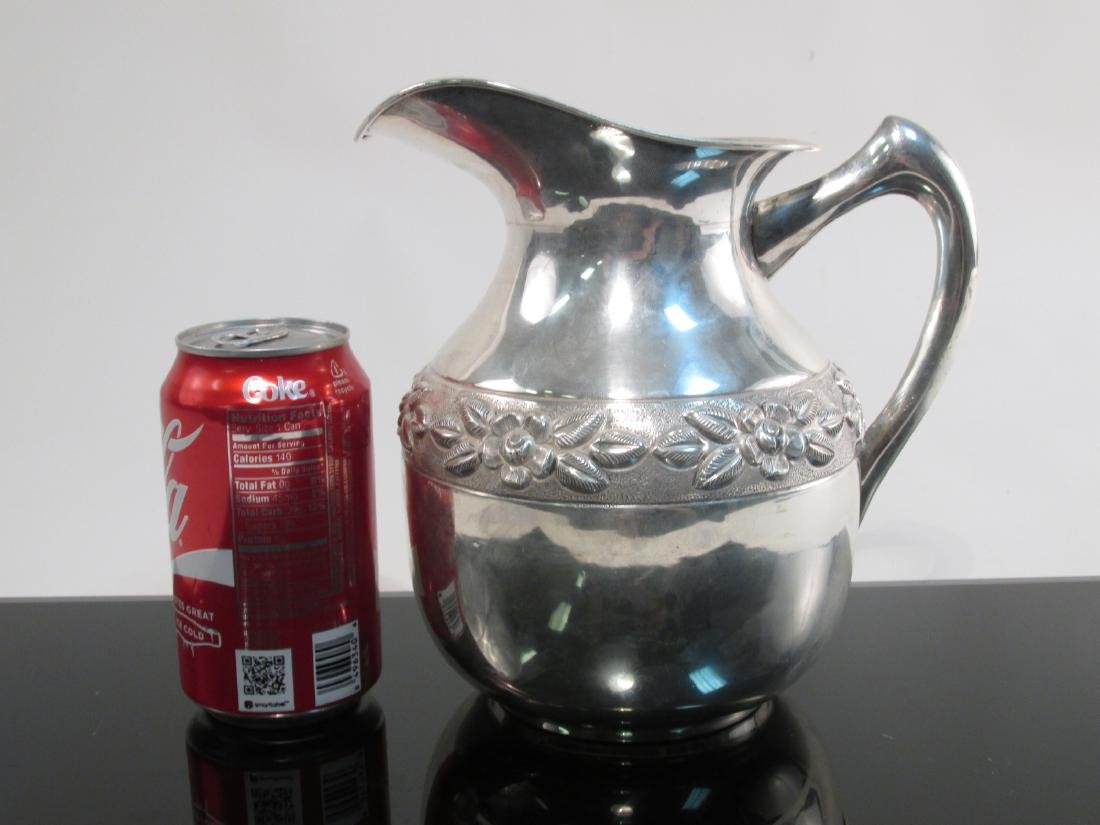 MEXICAN EMBOSSED STERLING SILVER PITCHER 26.5 TROY - 6
