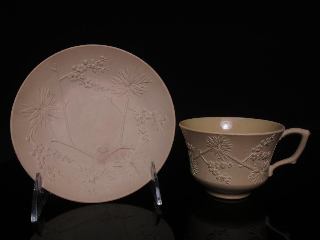 RARE WEDGWOOD CANEWARE CUP & SAUCER