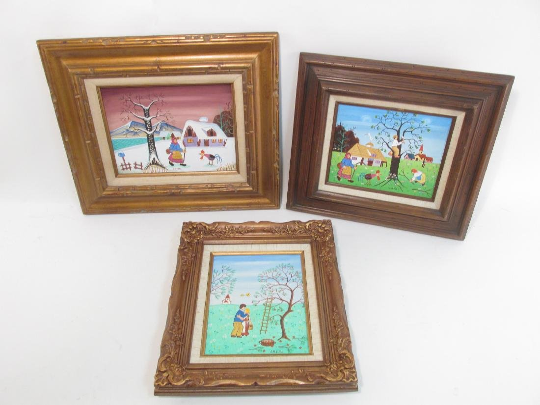 THREE SMALL OIL PAINTINGS BY LILIAN LATAL: NAIVE