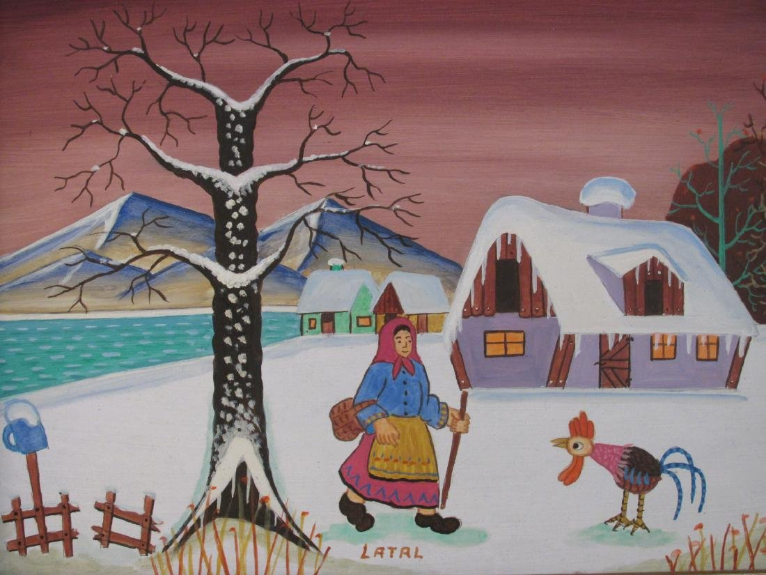 THREE SMALL OIL PAINTINGS BY LILIAN LATAL: NAIVE - 2