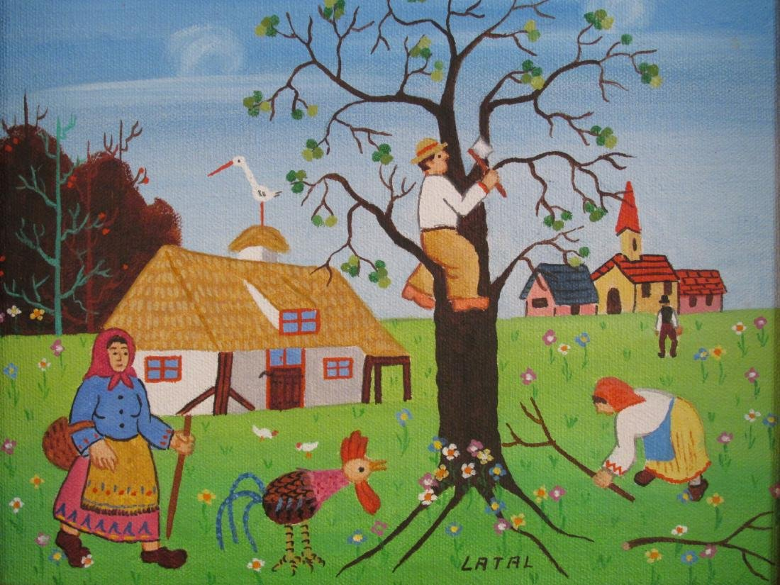 THREE SMALL OIL PAINTINGS BY LILIAN LATAL: NAIVE - 3