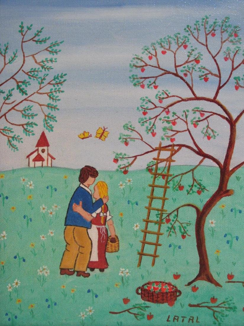 THREE SMALL OIL PAINTINGS BY LILIAN LATAL: NAIVE - 4