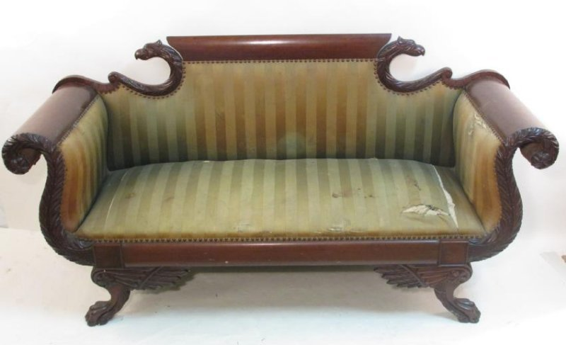 ANTIQUE EMPIRE CARVED MAHOGANY SOFA