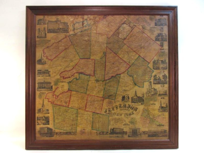 LARGE ANTIQUE HAND COLORED MAP JEFFERSON COUNTY NY