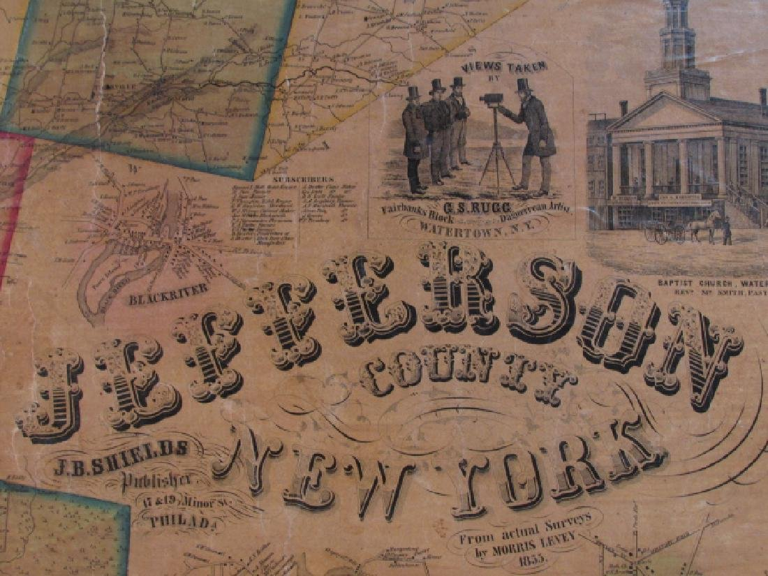 LARGE ANTIQUE HAND COLORED MAP JEFFERSON COUNTY NY - 2