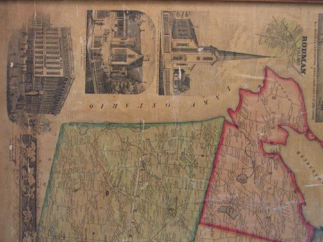 LARGE ANTIQUE HAND COLORED MAP JEFFERSON COUNTY NY - 4