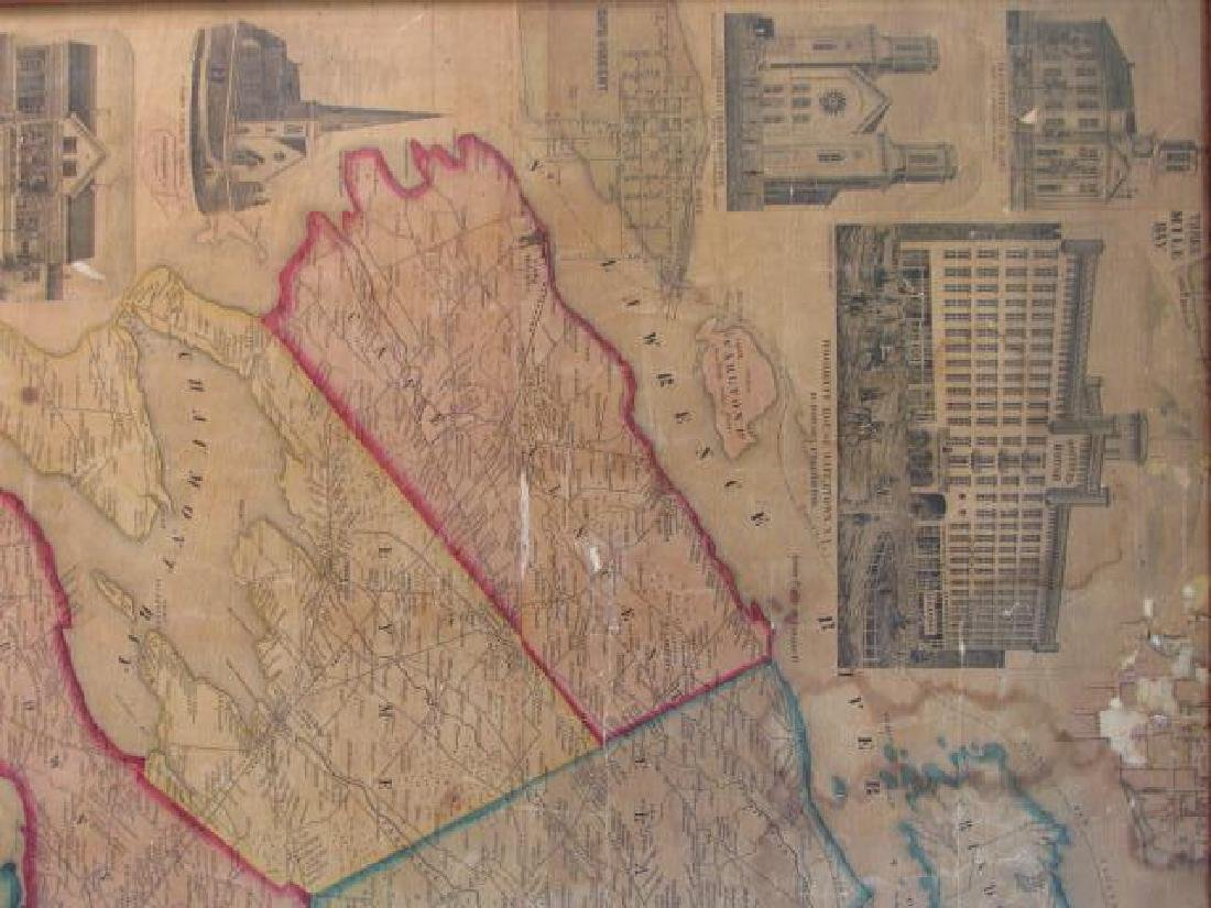 LARGE ANTIQUE HAND COLORED MAP JEFFERSON COUNTY NY - 5