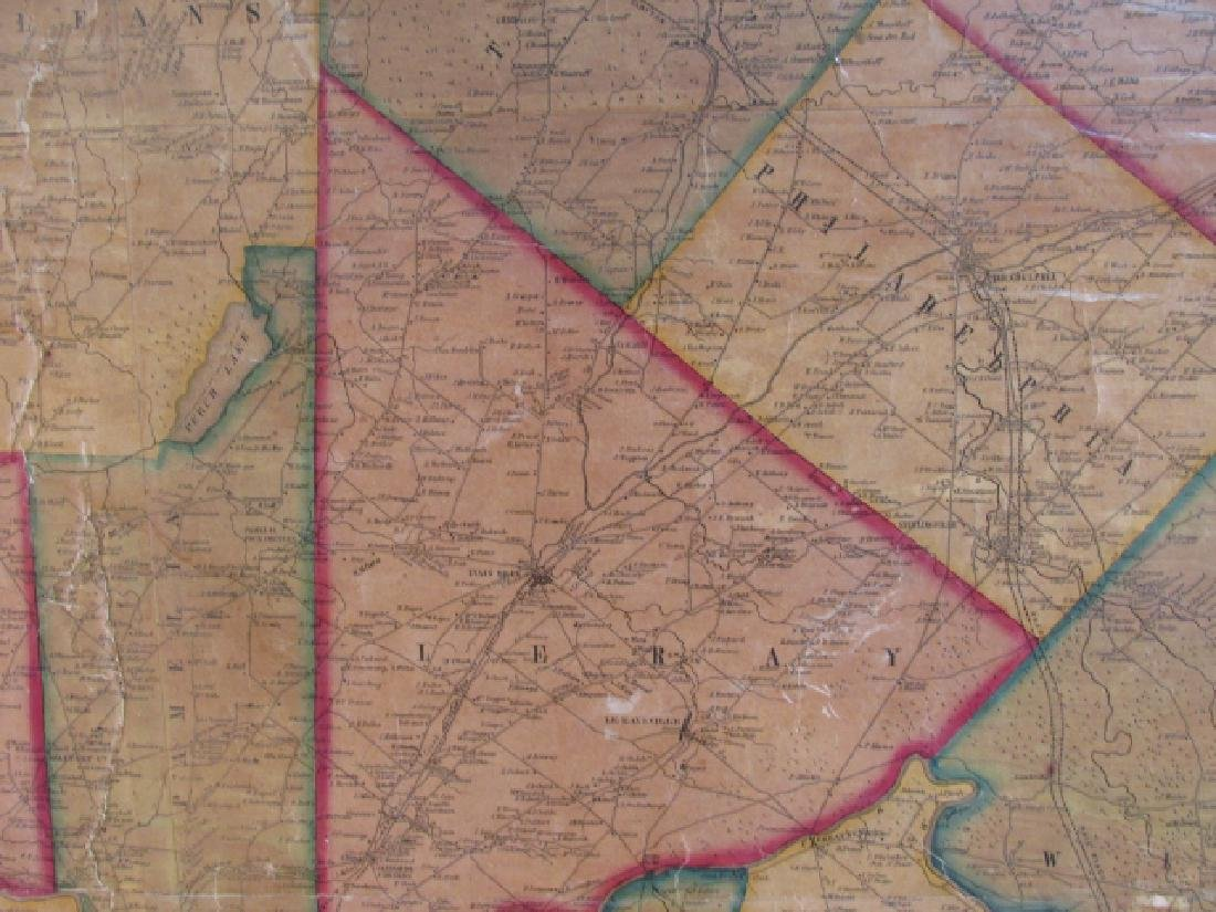 LARGE ANTIQUE HAND COLORED MAP JEFFERSON COUNTY NY - 7