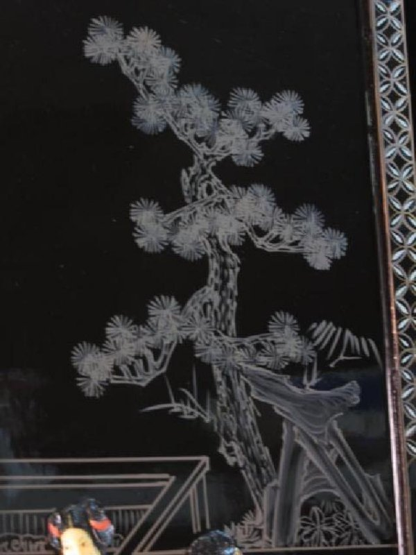 FOUR CHINESE BLACK LACQUER & STONE WALL PANELS - 3
