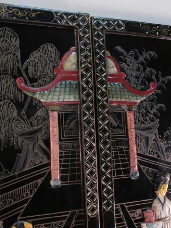 FOUR CHINESE BLACK LACQUER & STONE WALL PANELS - 5