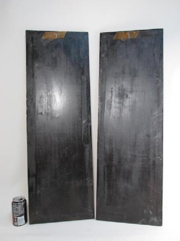 FOUR CHINESE BLACK LACQUER & STONE WALL PANELS - 7