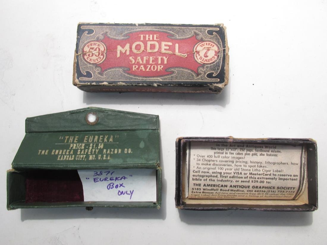 ASSORTED VINTAGE EMPTY SAFETY RAZOR BOXES & TINS - 8