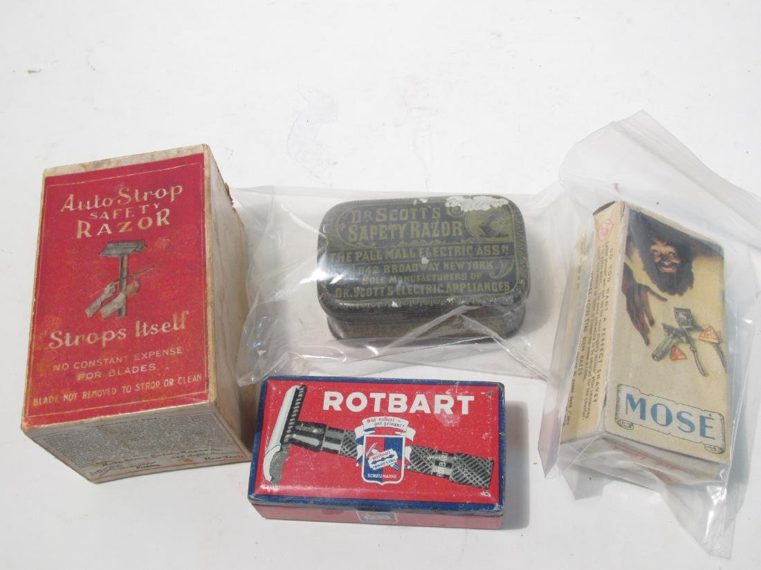 ASSORTED VINTAGE EMPTY SAFETY RAZOR BOXES & TINS - 9