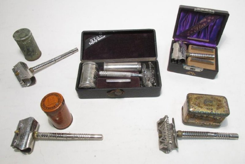 FIVE VINTAGE STAR KAMPFE WEDGE BLADE SAFETY RAZORS