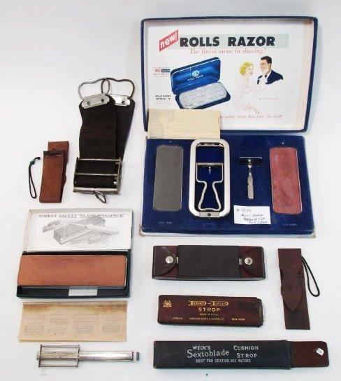 VINTAGE SAFETY RAZOR BLADE STROPS: ROLLS, ETC.