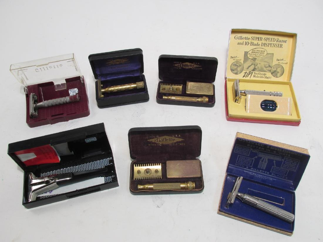 SEVEN VINTAGE GILLETTE DE SAFETY RAZORS