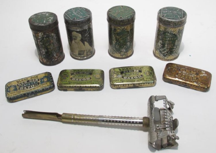 GEM SAFETY RAZORS, BLADES W/ LITHOGRAPGIC TINS
