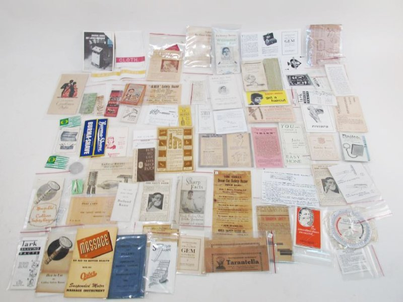 COLLECTION VINTAGE SHAVING & SAFETY RAZOR EPHEMERA
