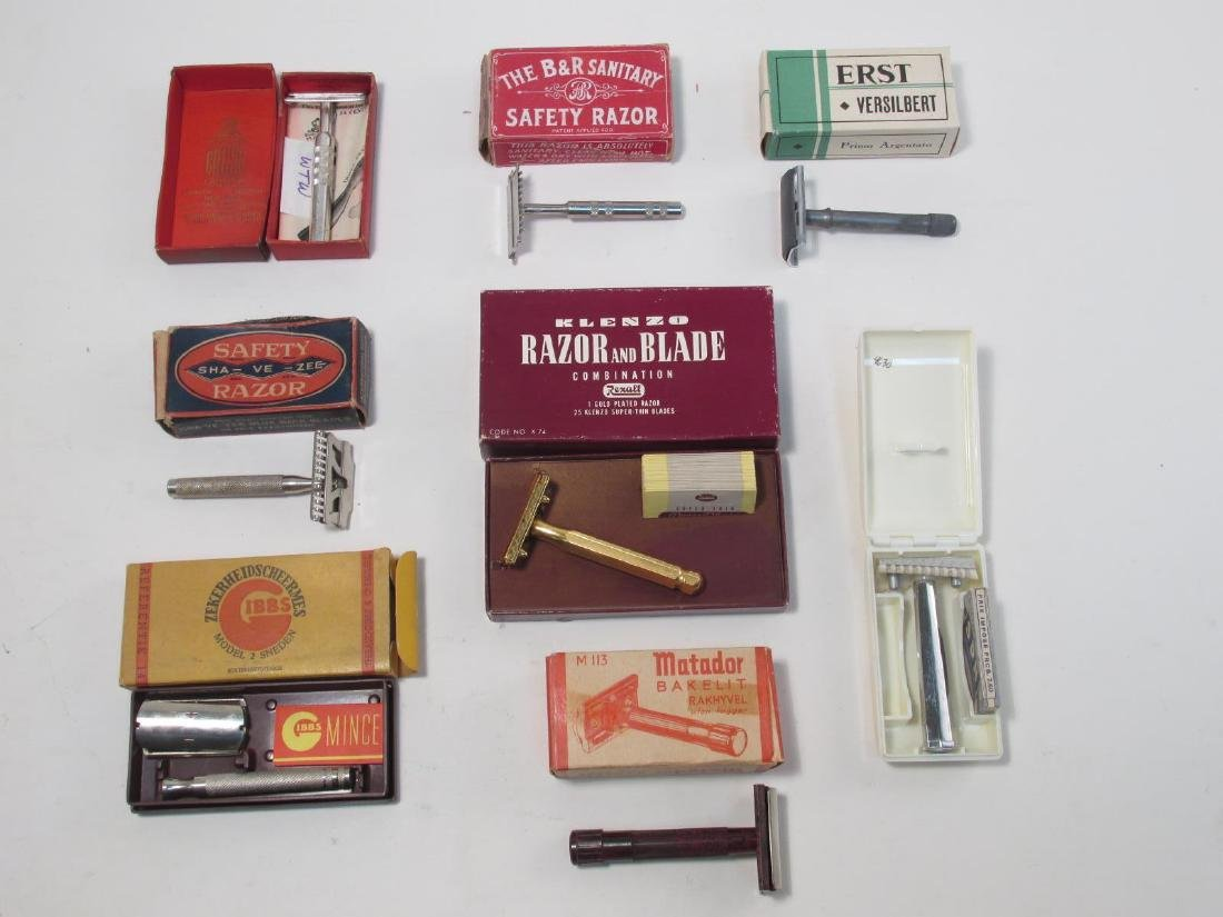 EIGHT VINTAGE COLLECTABLE SAFETY RAZORS: ERST, ETC