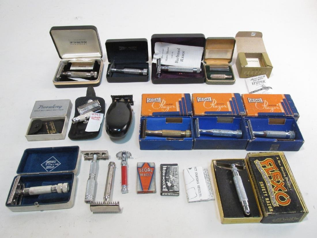 ASSORTED VINTAGE SAFETY RAZORS, DRY SHAVERS, ETC.