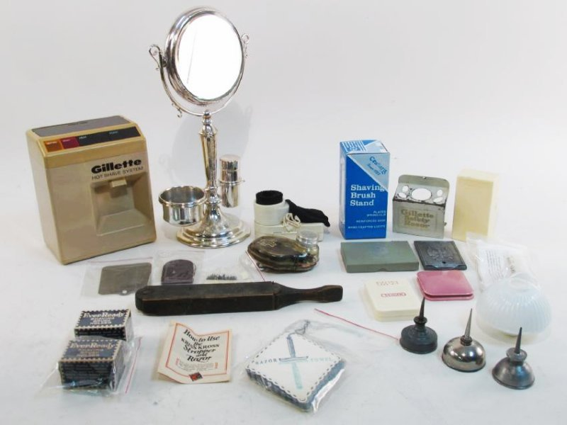 ASSORTED VINTAGE SHAVING ACCESSORIES: STANDS, ETC