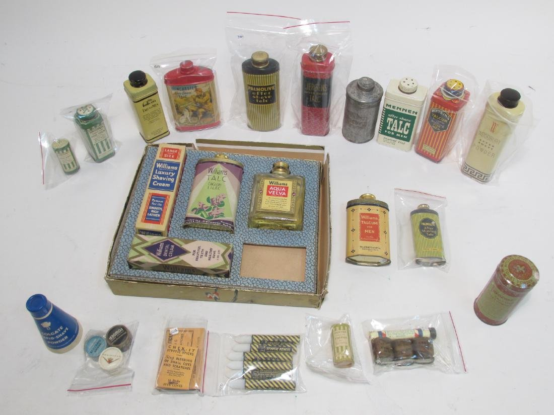 ASSORTED VINTAGE MENS TALC & SHAVE POWDER TINS ETC