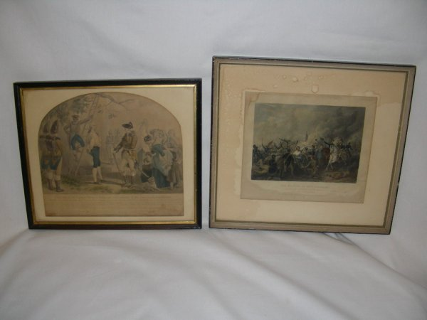 904: 2 ANTIQUE HAND COLORED ENGRAVINGS BATTLE SCENE