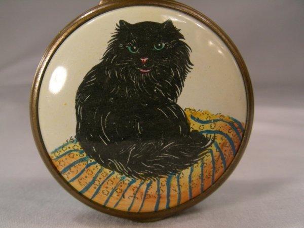 909: BILSTON BATTERSEA  BLACK CAT  ENAMEL BOX